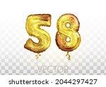 vector golden foil number 58...   Shutterstock .eps vector #2044297427