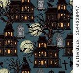 halloween night vintage... | Shutterstock .eps vector #2044328447