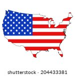 usa map and flag against white... | Shutterstock .eps vector #204433381