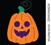halloween pumpkin icon vector... | Shutterstock .eps vector #2044346624