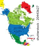 political map of north america | Shutterstock .eps vector #20443627