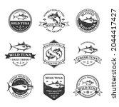 vector tuna logo and tuna fish... | Shutterstock .eps vector #2044417427