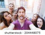 selfie  teenagers taking... | Shutterstock . vector #204448075