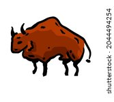 rock art. drawing of a bull or... | Shutterstock .eps vector #2044494254
