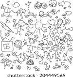 children's drawings  | Shutterstock .eps vector #204449569