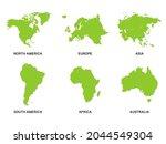 world green continents set.... | Shutterstock .eps vector #2044549304