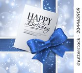 vector birthday card with blue... | Shutterstock .eps vector #204463909