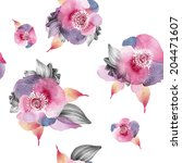 watercolor floral seamless... | Shutterstock . vector #204471607
