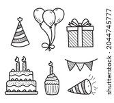 set of birthday party doodle...   Shutterstock .eps vector #2044745777