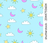 seamless pattern of clouds and...   Shutterstock .eps vector #2044753604