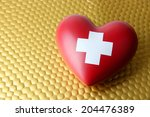 Red Heart With Cross Sign On...