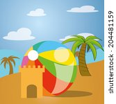 a sand castle and a beach ball... | Shutterstock .eps vector #204481159