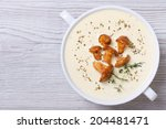 cream soup with mushrooms... | Shutterstock . vector #204481471