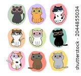 cute cats cartoon set vector | Shutterstock .eps vector #2044855034