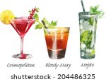 watercolor vector cocktails | Shutterstock .eps vector #204486325
