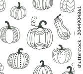 pumpkin seamless pattern vector ... | Shutterstock .eps vector #2044904861