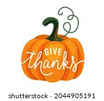 pumpkin with give thanks text... | Shutterstock .eps vector #2044905191