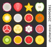 fruit icon set  vector | Shutterstock .eps vector #204490861