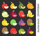fruit icon set  vector | Shutterstock .eps vector #204490864