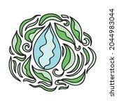 leaf and water drop. vector... | Shutterstock .eps vector #2044983044