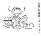 cute cartoon sun breakfast.... | Shutterstock .eps vector #2044989407