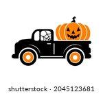 halloween truck  silhouette... | Shutterstock .eps vector #2045123681