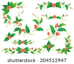 collection of decorative holly... | Shutterstock .eps vector #204512947