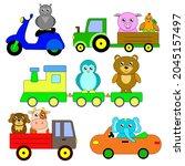 animals on transport. cartoon... | Shutterstock .eps vector #2045157497