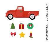 red car. merry christmas... | Shutterstock .eps vector #2045181374