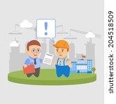 businessman construction... | Shutterstock .eps vector #204518509