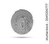 black linear fingerprint icon...   Shutterstock .eps vector #2045204777