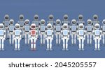 a crowd of robots stands in a...   Shutterstock .eps vector #2045205557