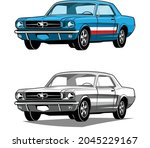 american classic muscle cars... | Shutterstock .eps vector #2045229167