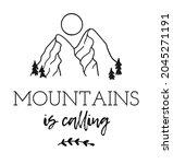 hand drawn mountain logo set.... | Shutterstock . vector #2045271191