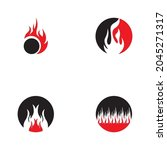 fire flame icon and symbol... | Shutterstock .eps vector #2045271317