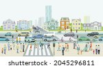 city silhouette with... | Shutterstock .eps vector #2045296811