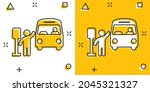bus station icon in comic style.... | Shutterstock .eps vector #2045321327