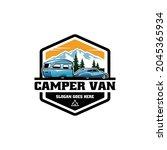 vintage camper van with trailer ... | Shutterstock .eps vector #2045365934