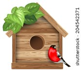 Wooden Birdhouse With Bird...