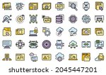 api icons set. outline set of...