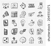 doodle communication icons set | Shutterstock .eps vector #204551071