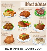 set of food icons. meat dishes. ... | Shutterstock .eps vector #204553009