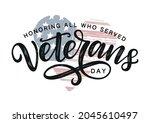 veterans day typography poster. ... | Shutterstock .eps vector #2045610497