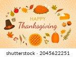 happy thanksgiving greeting... | Shutterstock .eps vector #2045622251