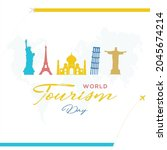 world tourism day poster.... | Shutterstock .eps vector #2045674214