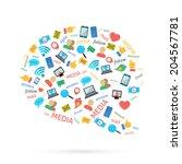 social media computer networks... | Shutterstock .eps vector #204567781