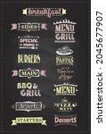 assorted menu headlines set... | Shutterstock .eps vector #2045677907