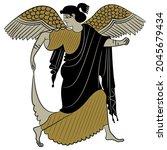 ancient greek winged goddess... | Shutterstock .eps vector #2045679434