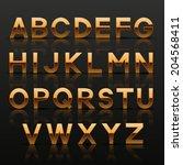 decorative golden alphabet.... | Shutterstock .eps vector #204568411