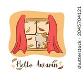 cat behind the window with...   Shutterstock .eps vector #2045704121